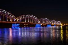 铁路桥在晚上 库存照片