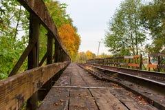 铁路桥梁在农村俄勒冈 库存图片