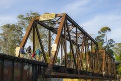 铁路桥梁在圣克鲁斯,加利福尼亚 免版税图库摄影