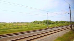 铁路火车移动 速度铁路视图 高速火车 移动培训 股票视频