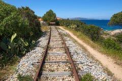 铁路的末端 库存照片
