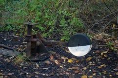 从铁路的老开关杠杆 库存照片
