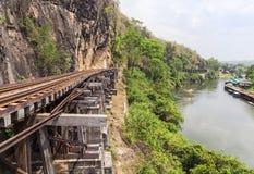 铁路第二次世界大战桥梁死亡在kanchanaburi泰国的 免版税库存照片