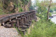 铁路第二次世界大战桥梁死亡在tham krasae的驻防kanchanaburi泰国 库存照片