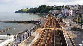 铁路线向里维埃拉 免版税库存照片