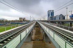 铁路线莫斯科中央铁路的建筑 库存照片