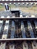 铁路联轨点轨道 免版税库存照片