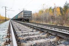 铁路路和树在黄色颜色 库存照片
