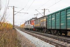 铁路路和树在黄色颜色 库存图片