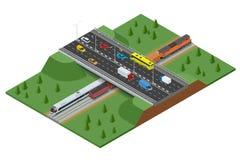 铁路路和轨道与交通 现代高速火车和货车 平的3d传染媒介等量概念 库存例证