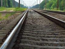 铁路路轨和睡眠者特写镜头 免版税库存图片