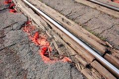 铁路轨道修理或维护 库存图片