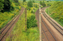 铁路轨道和输电线 免版税库存照片