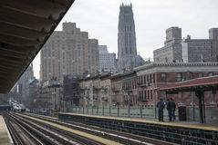 铁路轨道和驻地平台纽约美国 库存图片