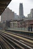 铁路轨道和驻地平台纽约美国 免版税库存图片