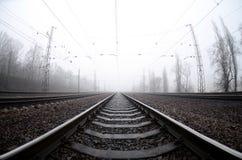 铁路轨道在一个有薄雾的早晨 很多路轨和睡眠者 免版税库存图片