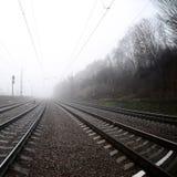 铁路轨道在一个有薄雾的早晨 很多路轨和睡眠者 图库摄影