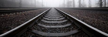 铁路轨道在一个有薄雾的早晨 很多路轨和睡眠者 免版税库存照片