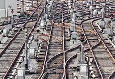 铁路轨道在地铁集中处 基辅,乌克兰 免版税库存照片