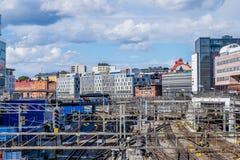 铁路轨道在斯德哥尔摩,瑞典 库存照片