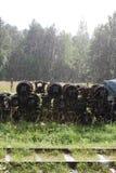 铁路轮子对在雨下 库存图片