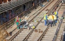 铁路运转大角度 免版税库存图片