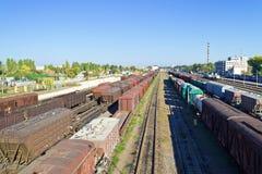 铁路运输无盖货车 免版税库存图片