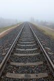 铁路进入薄雾灰色有薄雾的秋天早晨 库存图片