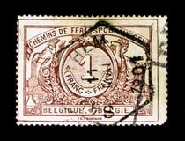 铁路邮票:与双语文本, serie的数字,大约1895 库存照片