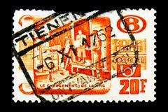 铁路邮票:小包的运输, serie,大约1952年 库存图片