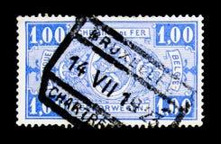 铁路邮票:徽章,在长方形,第一个问题, serie的价值,大约1923年 免版税库存图片