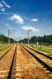 铁路钢跟踪 库存照片