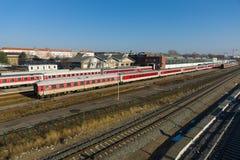 铁路集中处Warschauer Strasse。柏林 库存图片