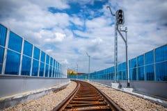 铁路高架桥克拉科夫Krzemionki -克拉科夫Zablocie 库存图片