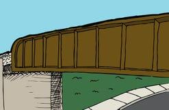 铁路高架桥和街道背景 库存例证