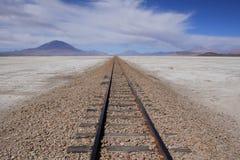 铁路 01 06 2000年玻利维亚de distance女性湖层放置孤立稀薄在撒拉尔盐旅行家uyuni走的水 免版税库存照片