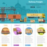 铁路货物infographics 库存例证