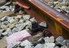 铁路细节在镇 免版税库存照片