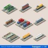 铁路3d传染媒介运输:储水池带有水和燃料的蒸汽火车头煤炭木头 免版税库存照片