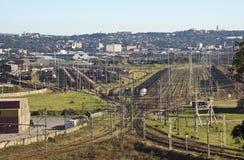 铁路Bayhead的存贮集中处在德班 免版税库存图片