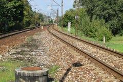 铁轨在波兰 免版税库存照片