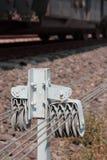 铁轨开关的卷扬机 库存图片