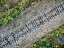 铁轨鸟瞰图 图库摄影