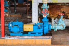 铁金属有耳轮缘和阀门的离心泵设备和管子抽的液体燃料产品在工业精炼厂 免版税图库摄影