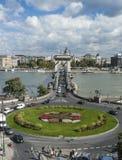 铁锁式桥梁在多瑙河 免版税库存图片