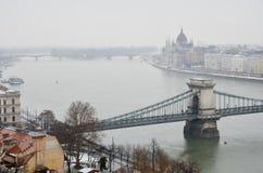 铁锁式桥梁在布达佩斯 图库摄影