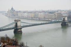 铁锁式桥梁在布达佩斯 免版税库存图片
