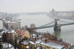 铁锁式桥梁在布达佩斯 库存照片