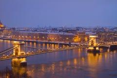 铁锁式桥梁从上面,布达佩斯 免版税库存图片