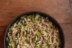 铁锅,面条,食物 免版税图库摄影